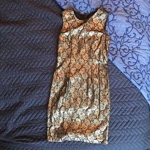 Gunmetal silver lace cut dress
